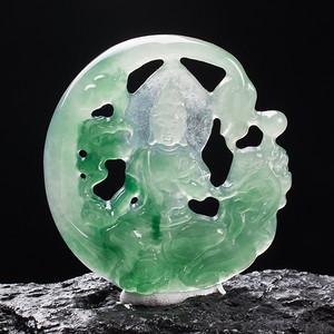 A货翡翠冰糯种祥龙观音24.72g