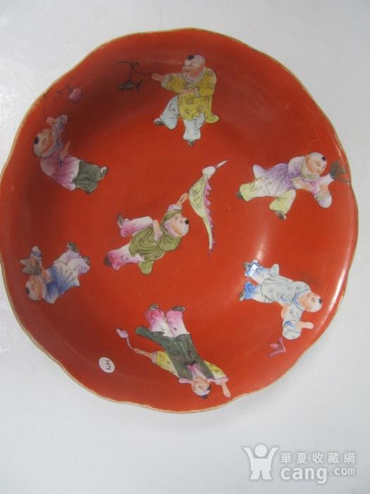 民国精品珊瑚红地婴戏碗图4