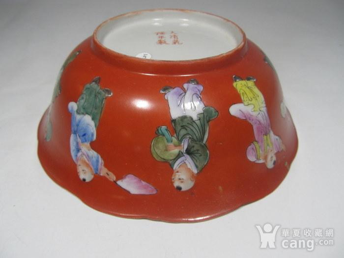 民国精品珊瑚红地婴戏碗图7