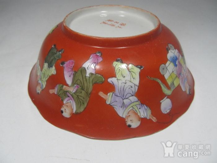 民国精品珊瑚红地婴戏碗图6