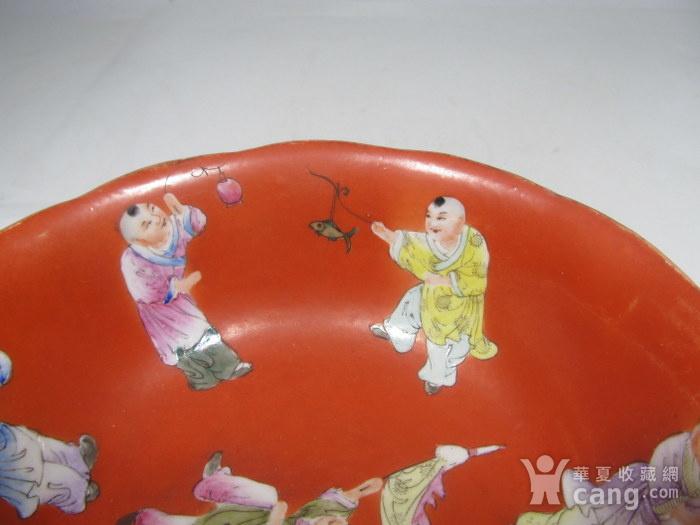 民国精品珊瑚红地婴戏碗图9