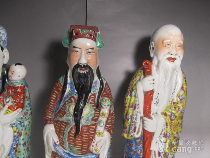 精品民国粉彩福禄寿三星瓷塑一套图3