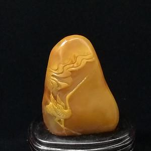 寿山石田黄石薄意浮雕摆件71 石质温润 萝卜纹隐隐可见