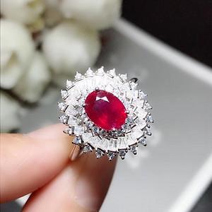 925银镀白金红宝石戒指