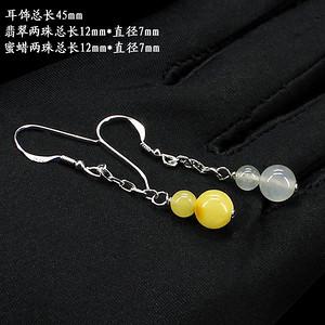 天然蜜蜡翡翠福禄耳饰0182