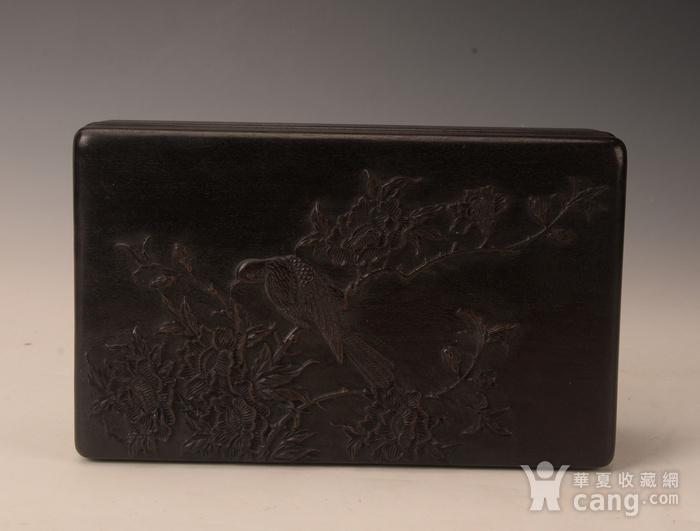 欧洲回流紫檀雕花卉盒图2