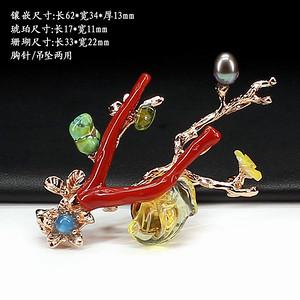 天然琥珀珊瑚多宝胸针挂件两用0165