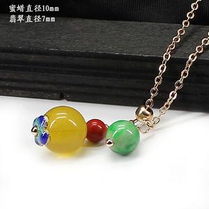 天然蜜蜡翡翠项链0179