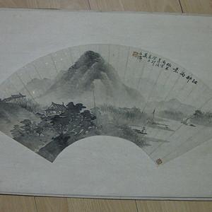 老扇面画。吴石仙款水墨山水。画心52 18.5厘米