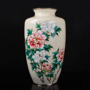 日本七宝烧精品,牡丹纹大瓶