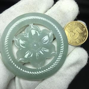 冰种细腻翡翠A货花开富贵圆牌