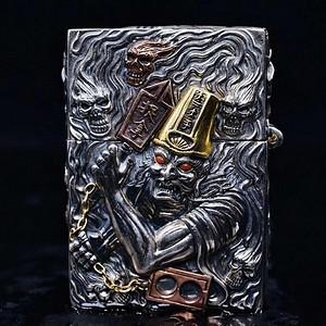 黑白无常纯银镶嵌宝石打火机 原装ZP机芯