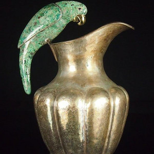 罕见,鹦哥珐琅细工白铜大执壶