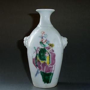 清德化窑粉彩人物纹狮耳瓶 文房插花瓶