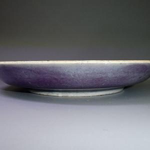 清道光外茄皮紫内豆青釉盘