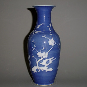 清 蓝釉堆白梅兰竹菊四君子瓶