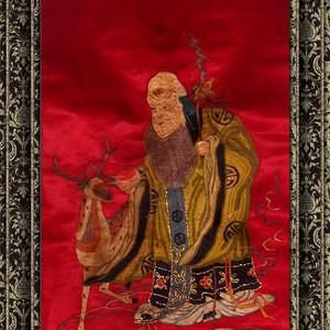 民国 手工刺绣 老裱祝寿图