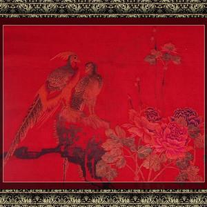 清 手工刺绣 雉鸡牡丹50X50厘米