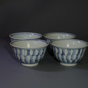 清康熙青花梵文百寿纹杯4只