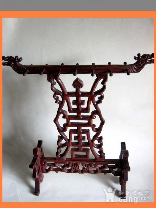 红木双龙贺寿雕 文房挂笔架图1