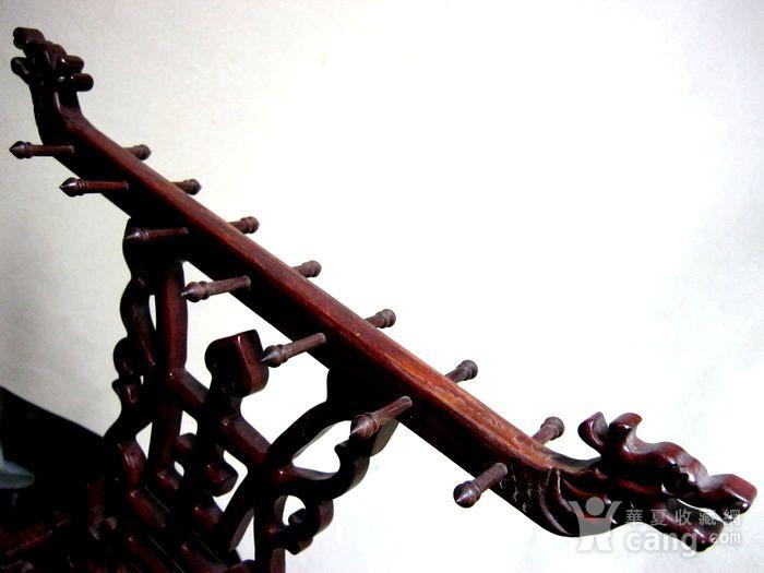 红木双龙贺寿雕 文房挂笔架图3