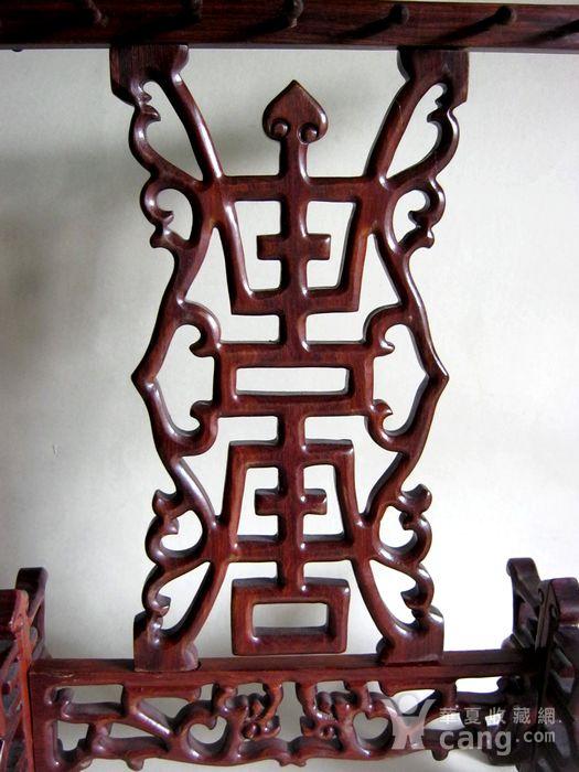红木双龙贺寿雕 文房挂笔架图2