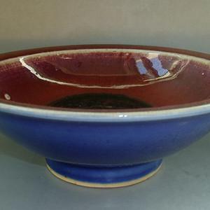 清中期 内窑变红釉外霁蓝釉二色釉折沿碗