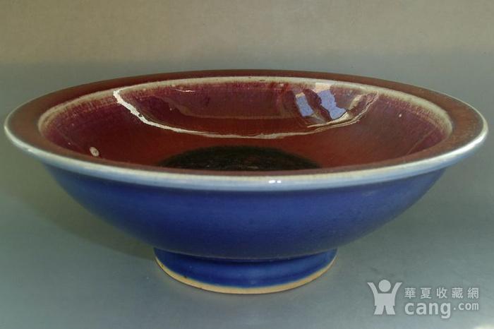 清中期 内窑变红釉外霁蓝釉二色釉折沿碗图1
