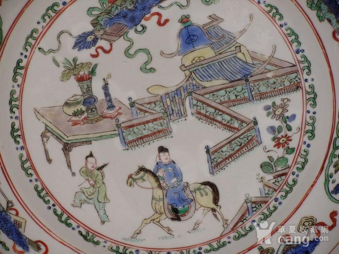清康熙五彩西厢记故事人物纹折腰盘图6