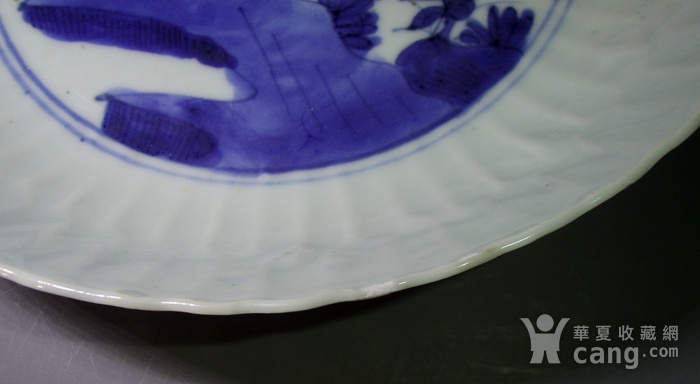 明万历 青花洞石花卉蜥蜴纹瓜棱盘图11