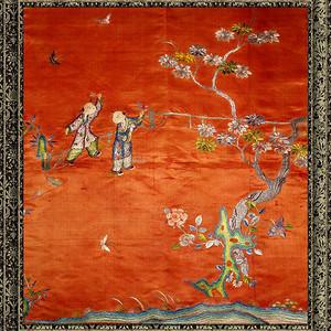 清中期 手工刺绣婴戏图