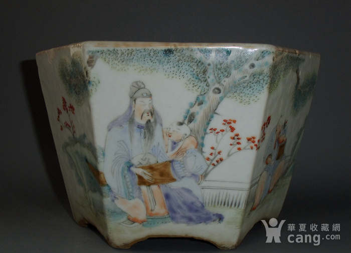 清光绪 少泉氏浅绛彩人物诗纹六方花盆图3