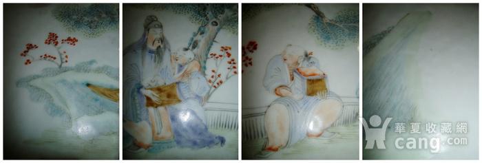 清光绪 少泉氏浅绛彩人物诗纹六方花盆图2