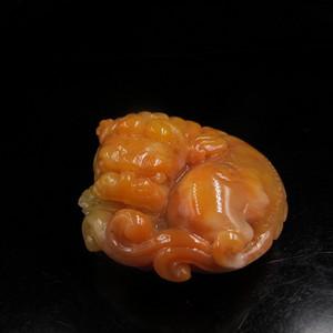收藏精品 老坑结晶体三彩老挝田黄石手把件 古狮戏珠