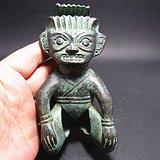 收藏级 商代晚期青铜跪坐人像 包浆厚重 极具收藏价值