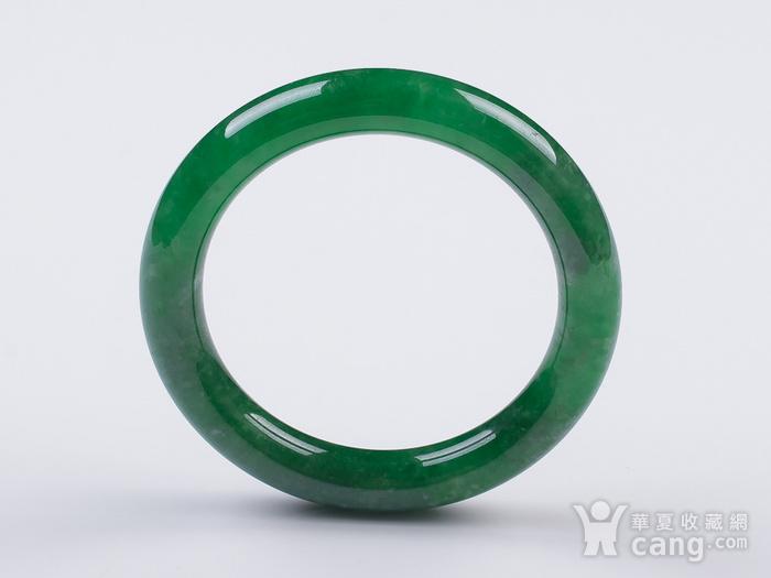 缅甸翡翠好种满阳绿圆条手镯52.53g图1