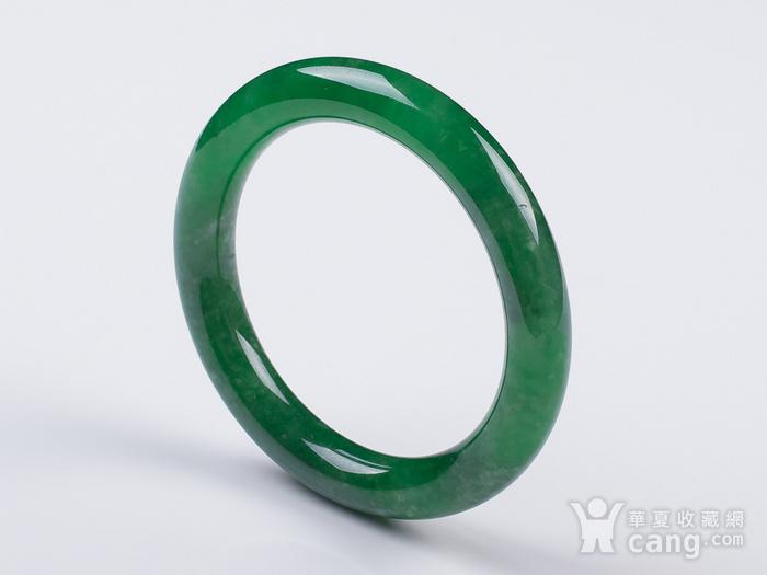 缅甸翡翠好种满阳绿圆条手镯52.53g图2