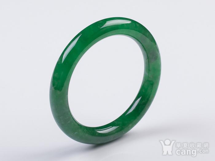 缅甸翡翠好种满阳绿圆条手镯52.53g图3