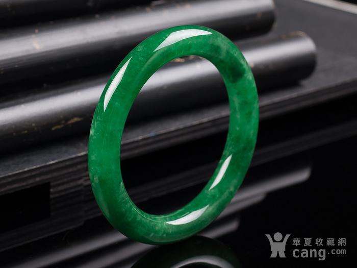 缅甸翡翠好种满阳绿圆条手镯52.53g图10