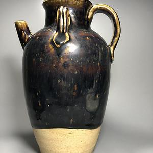 精品 收藏级压轴高古瓷 宋 磁州窑褐釉持壶