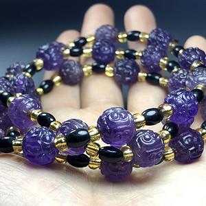 清代紫水晶珠串一条