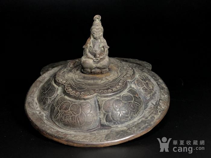 清代铜瓜棱香盒一件图4