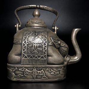 藏区回流 清代白铜镀银象形壶一把