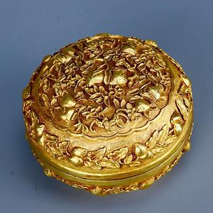 旧藏银鎏金祝寿盖盒