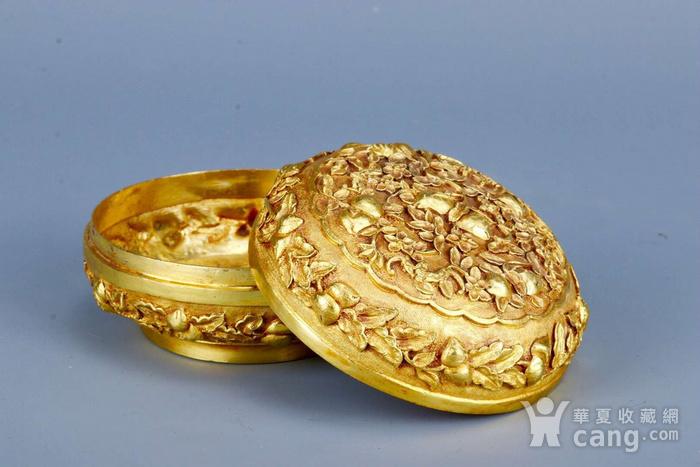 旧藏银鎏金祝寿盖盒图3
