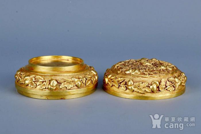 旧藏银鎏金祝寿盖盒图5