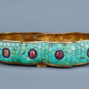 旧藏铜鎏金寿桃笔洗
