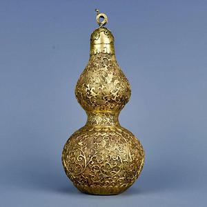 旧藏铜鎏金花卉纹福禄摆件