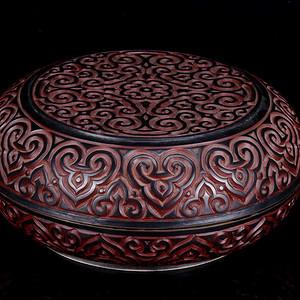 旧藏铜胎剔红漆文房盒