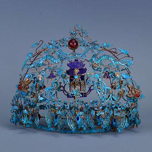 旧藏银鎏金拉丝点缀龙凤冠
